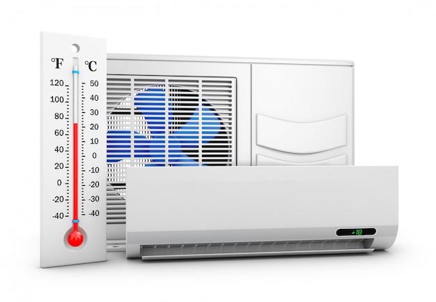 Aire acondicionado y termómetro sobre fondo blanco. representación 3d