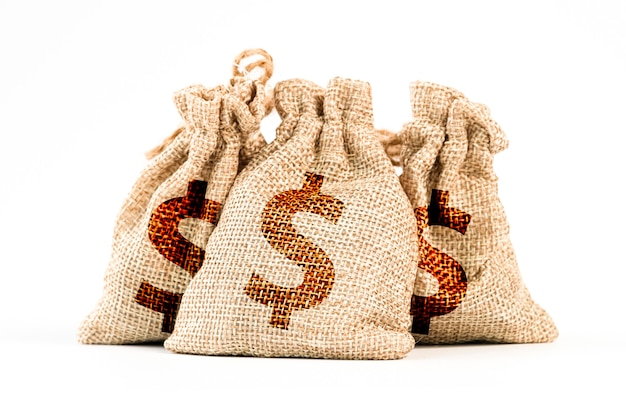 Aislado del dólar estadounidense en bolsas de estados unidos de américa.