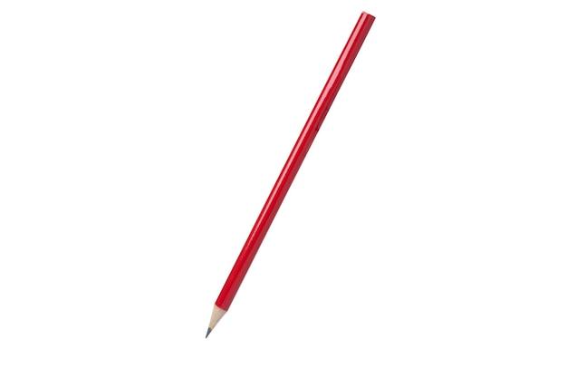 Aislado de lápiz rojo sobre fondo blanco con trazado de recorte.