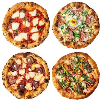 Aislado muchos diferentes collage de diseño de menú de pizza italiana