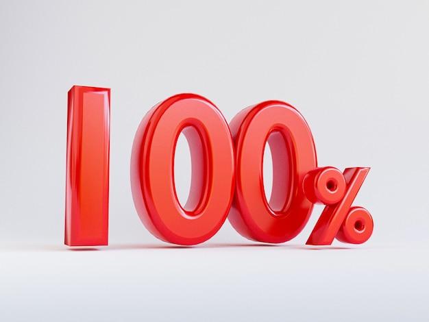 Aislado de rojo cien por ciento o 100 por ciento para oferta especial de tiendas departamentales de compras y concepto de descuento por render 3d.