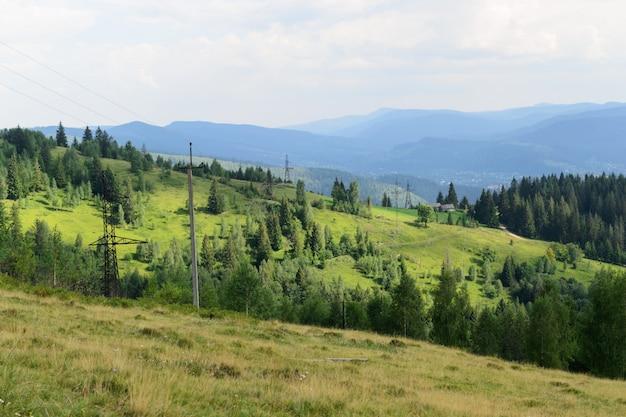 Ajardine los cables de bosques y montañas de montaje eléctrico en perspectiva