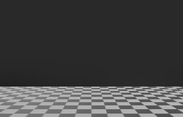Ajedrez azulejos cuadrados en el piso con pared de color gris oscuro como fondo.