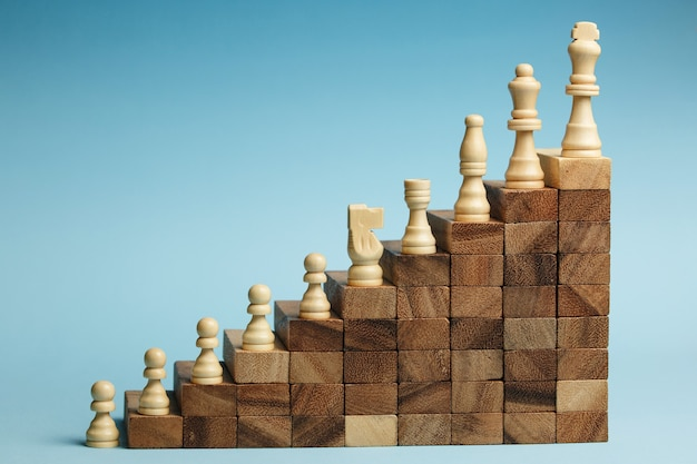 Ajedrez de pie sobre una pirámide de bloques de madera. concepto de escalera de carrera, jerarquía empresarial con espacio de copia.