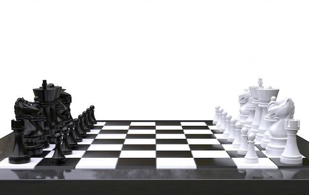 Ajedrez de representación 3d en un tablero de ajedrez, fondo blanco aislado
