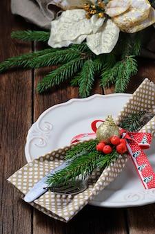 Ajuste de mesa de cena de navidad