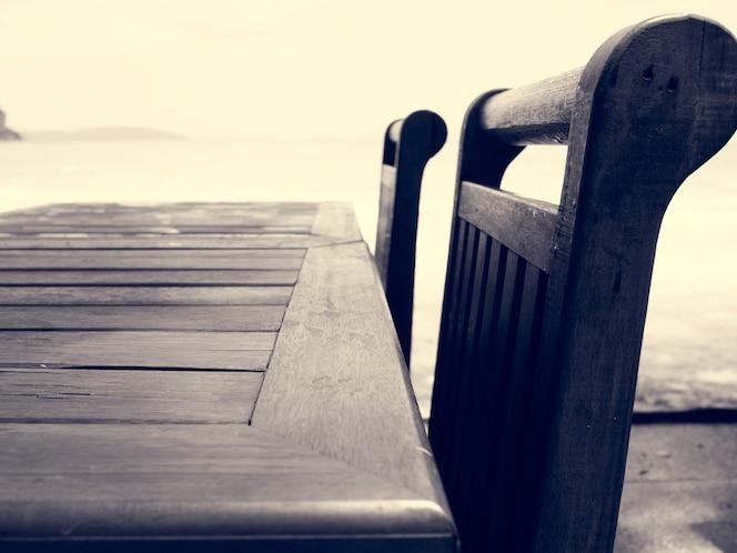 Al aire libre mesa fondo de la playa del océano