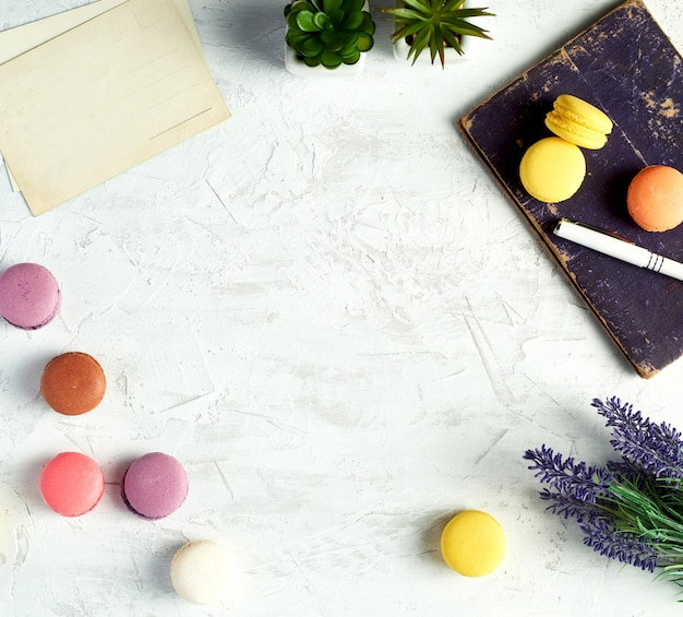 Al horno redondo macarons, cuaderno, pluma y plantas en una maceta sobre fondo blanco.