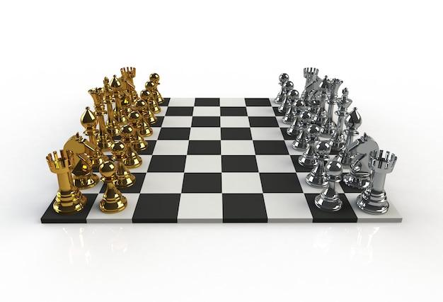 Al lado de la vista de figuras de ajedrez en el tablero de juego sobre fondo blanco, representación 3d
