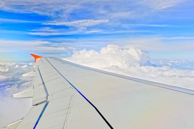 Ala del aeroplano en vuelo