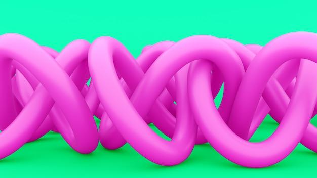 Alambres abstractos enredados, tuberías o nodos. alambre enredado rosa. diseño abstracto moderno