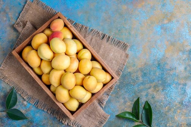 Albaricoques orgánicos frescos, fruta de verano, vista superior