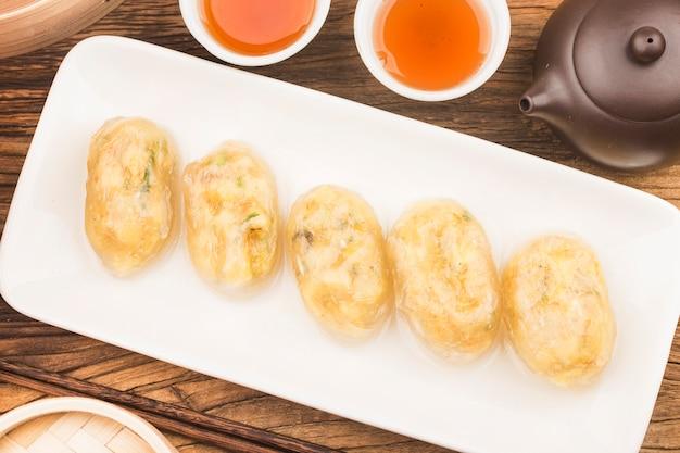 Albóndigas de carne de cristal chino al vapor