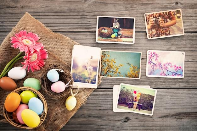 Álbum de fotos en recuerdo y nostalgia del feliz día de pascua.
