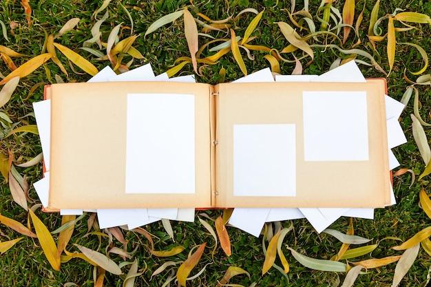 Álbum con viejas fotos familiares en el jardín sobre el césped con hojas de otoño. memorias del pasado. maquillaje. copiar espacio.