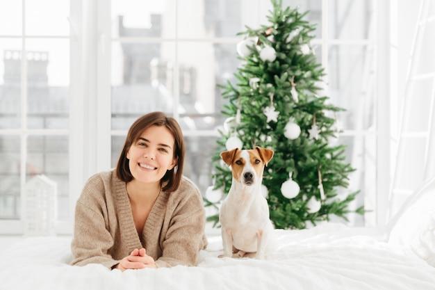 Alegre mujer morena obtiene perro jack russell terrier como regalo de navidad
