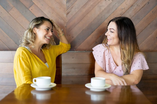Alegres amigas charlando en café