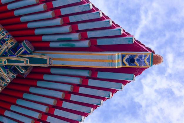 Aleros de techo de la arquitectura china vista desde abajo