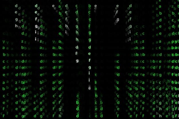 Alfabeto dimensión profunda color verde resumen texto fondo
