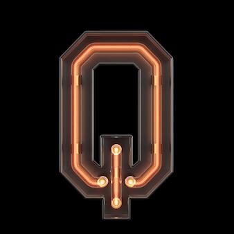 Alfabeto de luz de neón q