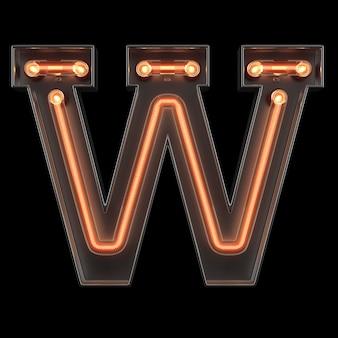 Alfabeto de luz de neón w