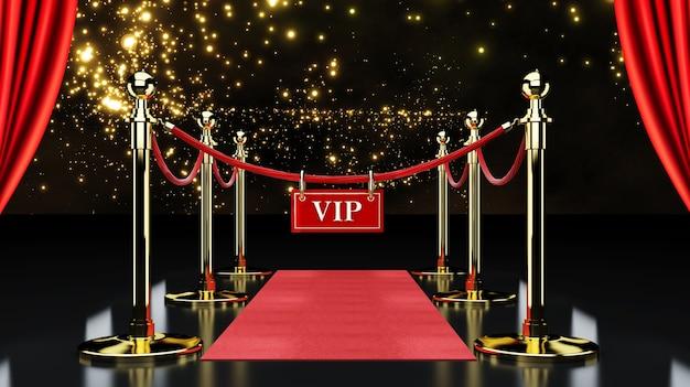 Alfombra de evento rojo, escalera y barrera de cuerda dorada concepto de éxito y triunfo, renderizado 3d