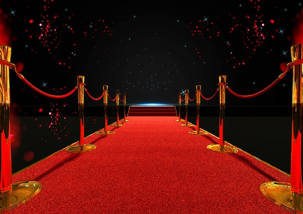 Alfombra roja larga entre barreras de cuerda con escalera al final