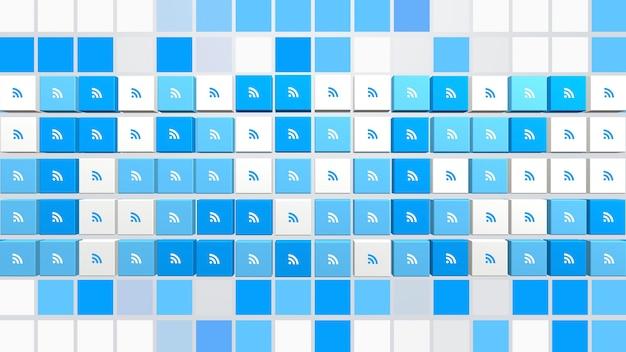 Alimente los iconos en el fondo de la red simple. estilo dinámico elegante y de lujo para plantilla empresarial, corporativa y social, ilustración 3d