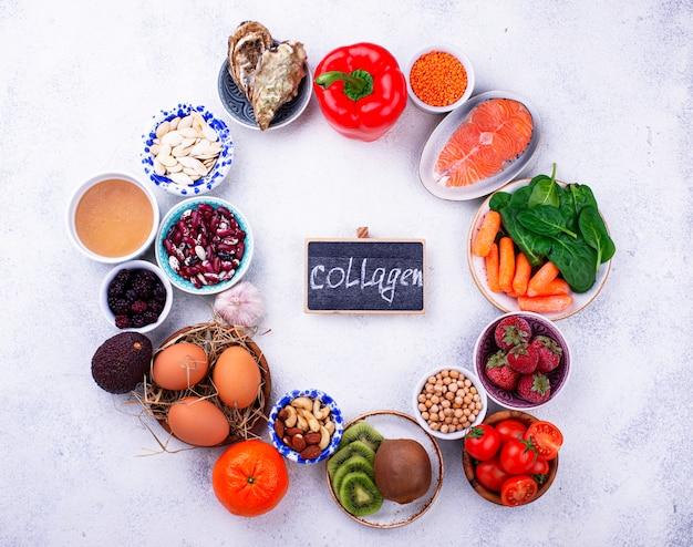 Alimentos ricos en colágeno. productos saludables