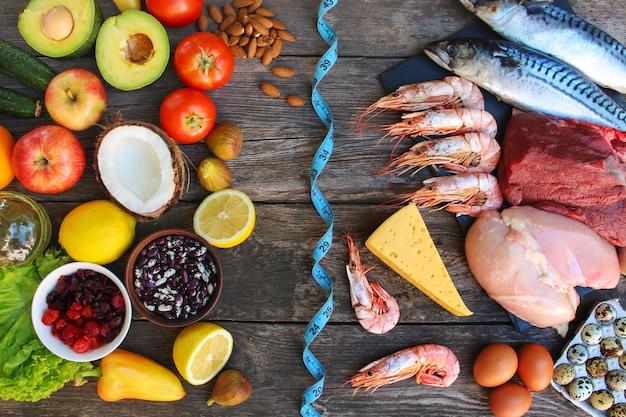 Alimentos saludables de origen animal y vegetal.