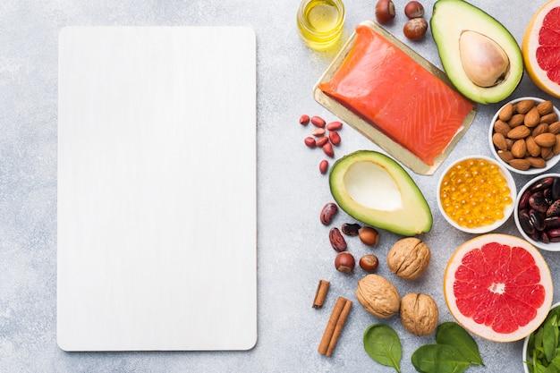 Alimentos saludables, productos antioxidantes.