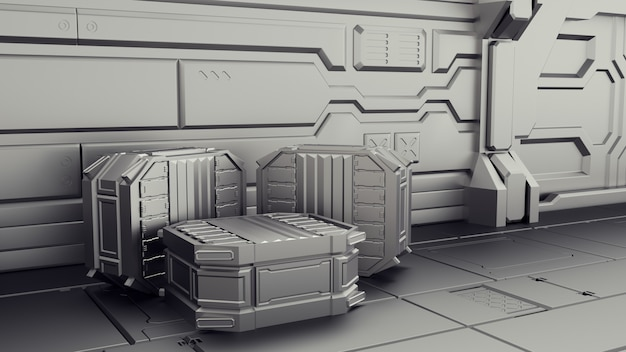 Almacén de ciencia ficción donde se almacenan los contenedores. laboratorio en una nave espacial.
