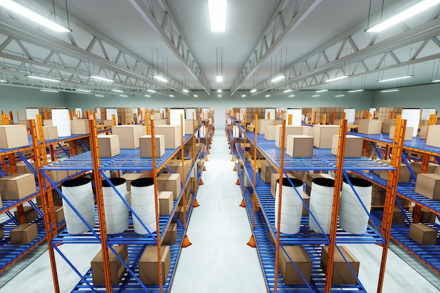 Almacén industrial para almacenar cosas.