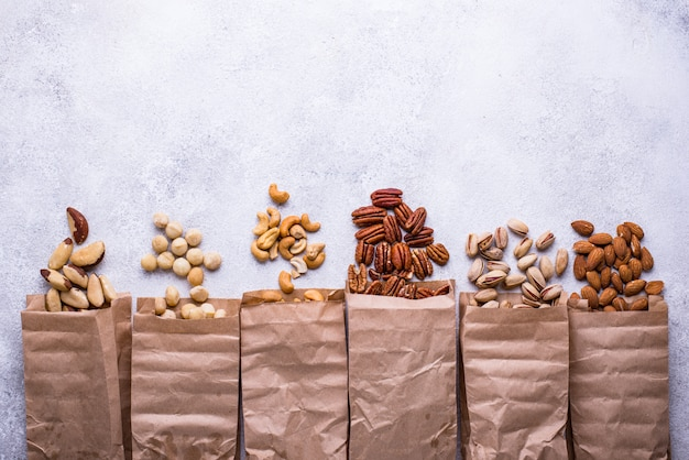 Almendras, nueces, macadamia, pistachos y anacardos