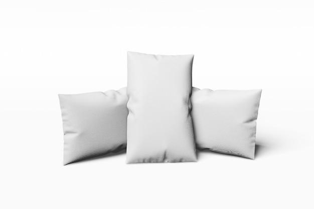 Almohada rectangular sobre un fondo blanco 3d rendering