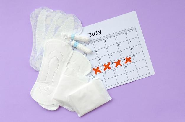 Almohadillas menstruales y tampones en el calendario del período de menstruación plano