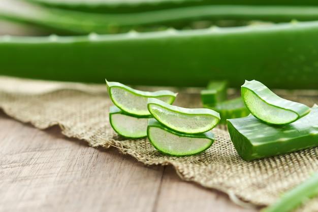 Aloe vera muy útil a base de hierbas para el tratamiento de la piel y su uso en spa para el cuidado de la piel. hierba en la naturaleza