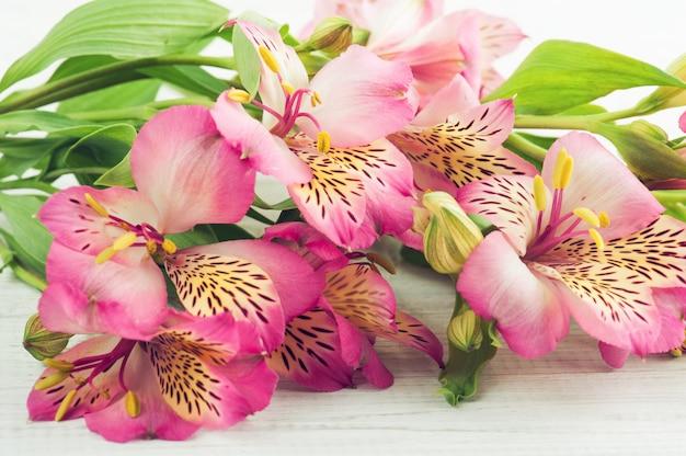 Alstromeria flores sobre fondo de madera