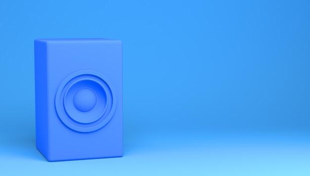 Altavoz sobre fondo azul. ilustración 3d.