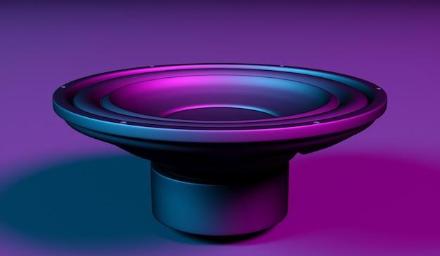 Un altavoz sobre un fondo negro con luz de neón, ilustración 3d