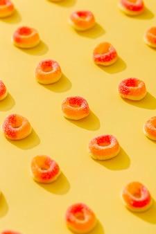 Alto ángulo de caramelos de gelatina