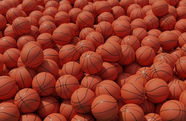 Alto ángulo de composición con pelotas de baloncesto