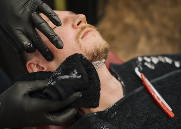 Alto ángulo del concepto de peluquería