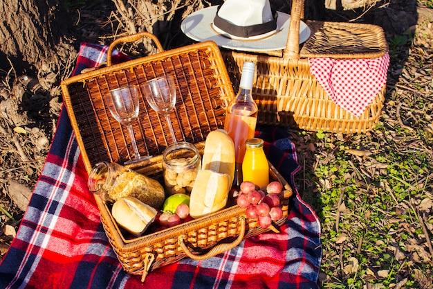 Alto ángulo hermoso arreglo de picnic