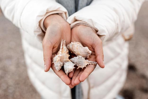 Alto ángulo de mujer sosteniendo conchas marinas