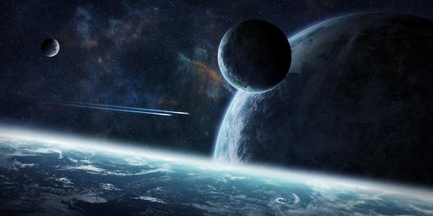 Amanecer sobre grupo de planetas en el espacio