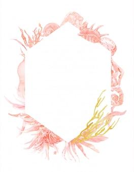 Amar a la acuarela de coral. diseño de postal. coral love heart. tarjeta de san valentín