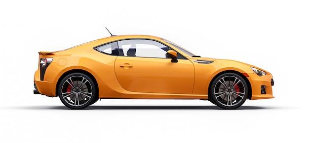 Amarillo pequeño coche deportivo coupe. representación 3d