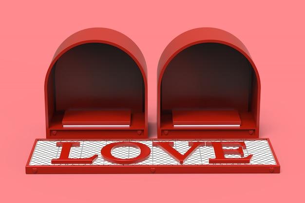 Ame el espacio rojo del podio para los productos cosméticos o los anillos de los regalos en el festival del día de fiesta de la celebración del día de san valentín con el texto 3d del amor en la luz blanca emisiva, ejemplo 3d.