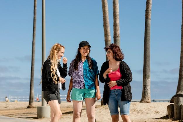 Amigos adultos jóvenes, verano en venice beach, los ángeles